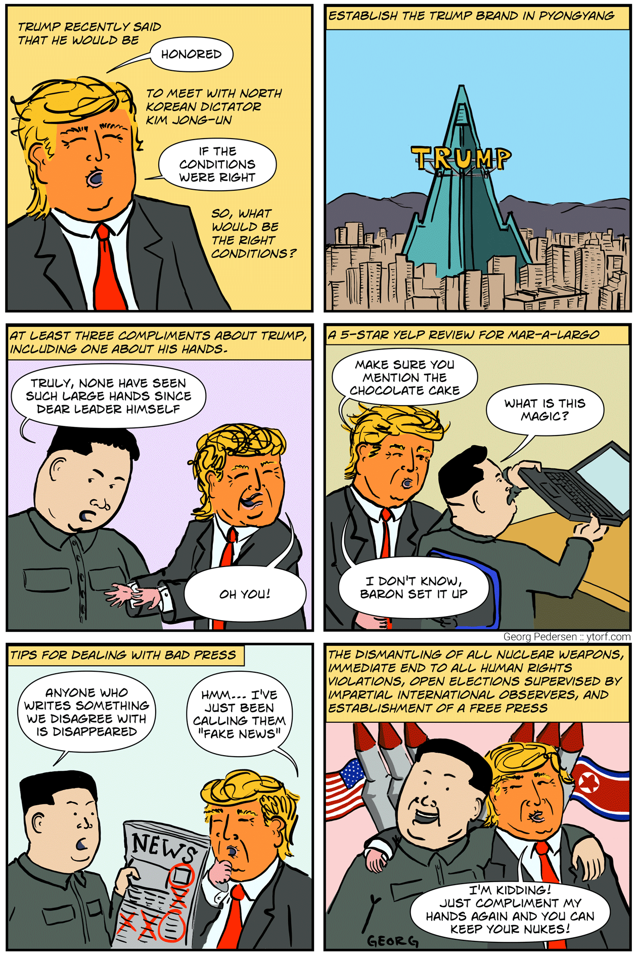 Negotiations breakdown when Kim Jong-Un demands to wear Trump's wig the the translator cannot explain how it could possibly be real hair