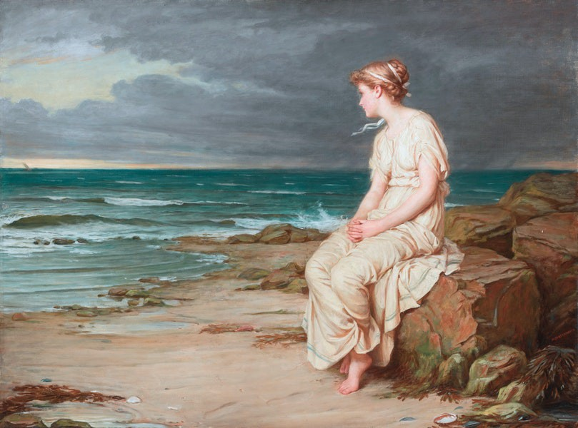 Painting by John William Waterhouse of Miranda, from Shakespeare's The Tempest, looking forlornly out to sea