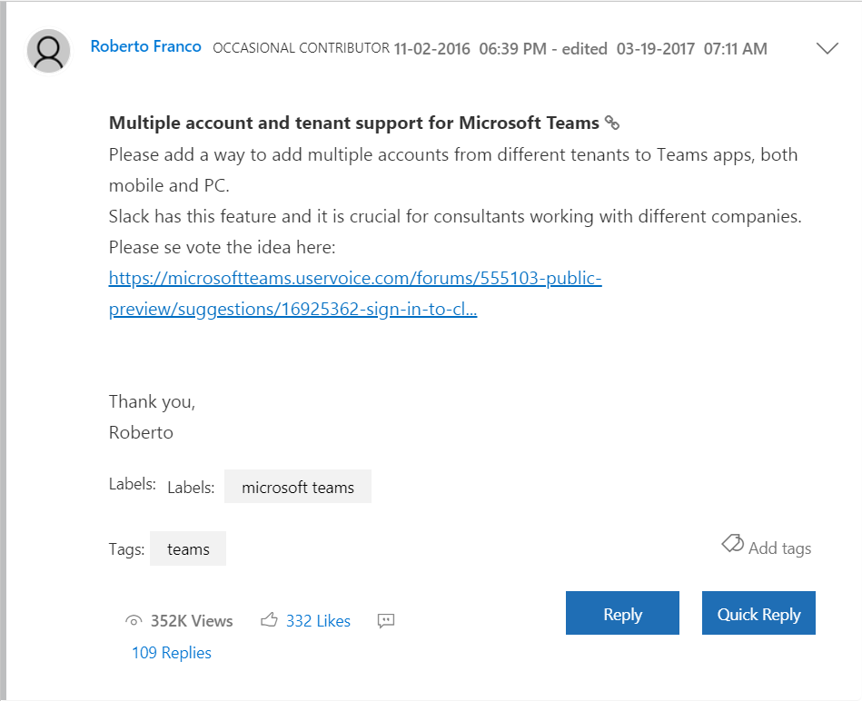 A complaint from a microsoft teams user about having to switch tenants when using guest access