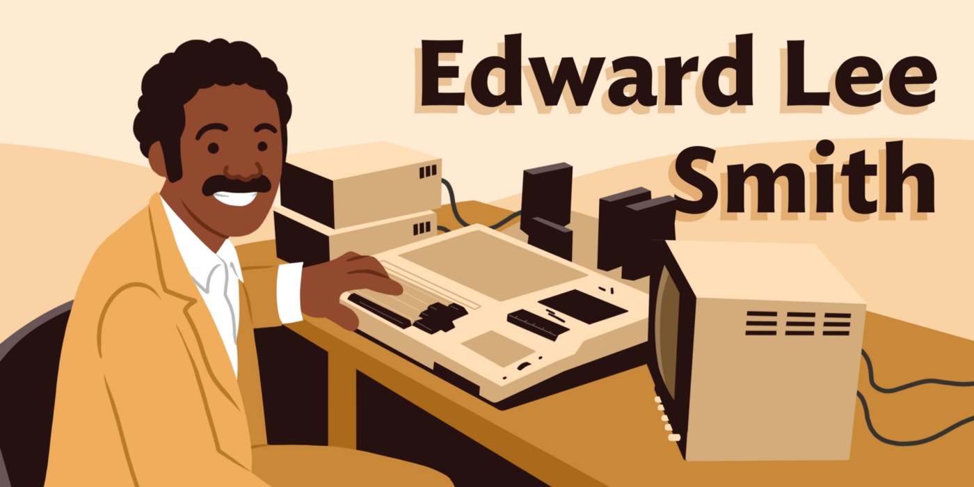 Illustration of Edward Lee Smith at his early computer