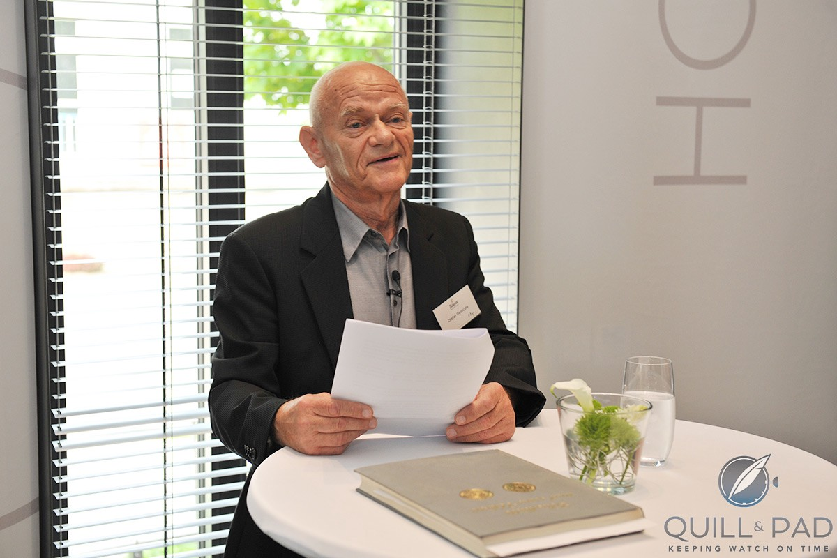 Dieter Delecate welcoming guests to the Glashütte factory opening in 2011