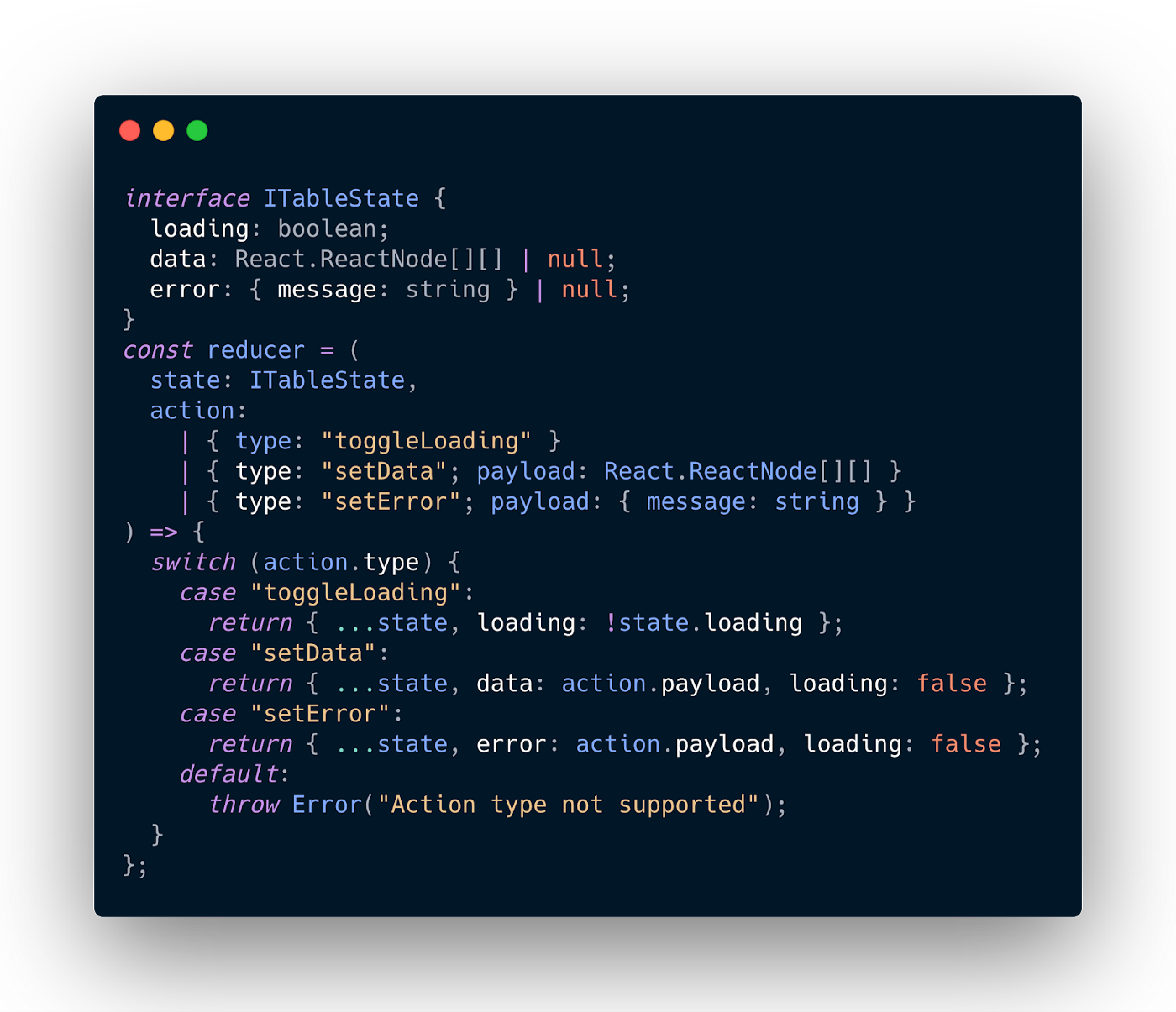 The core reducer of our useTableState hook