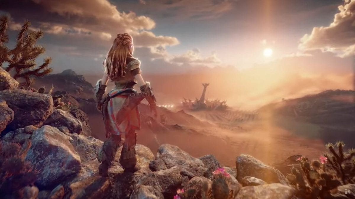 Alloy, the main character from Horizon Forbidden West is looking at the sun rising on the horizon.