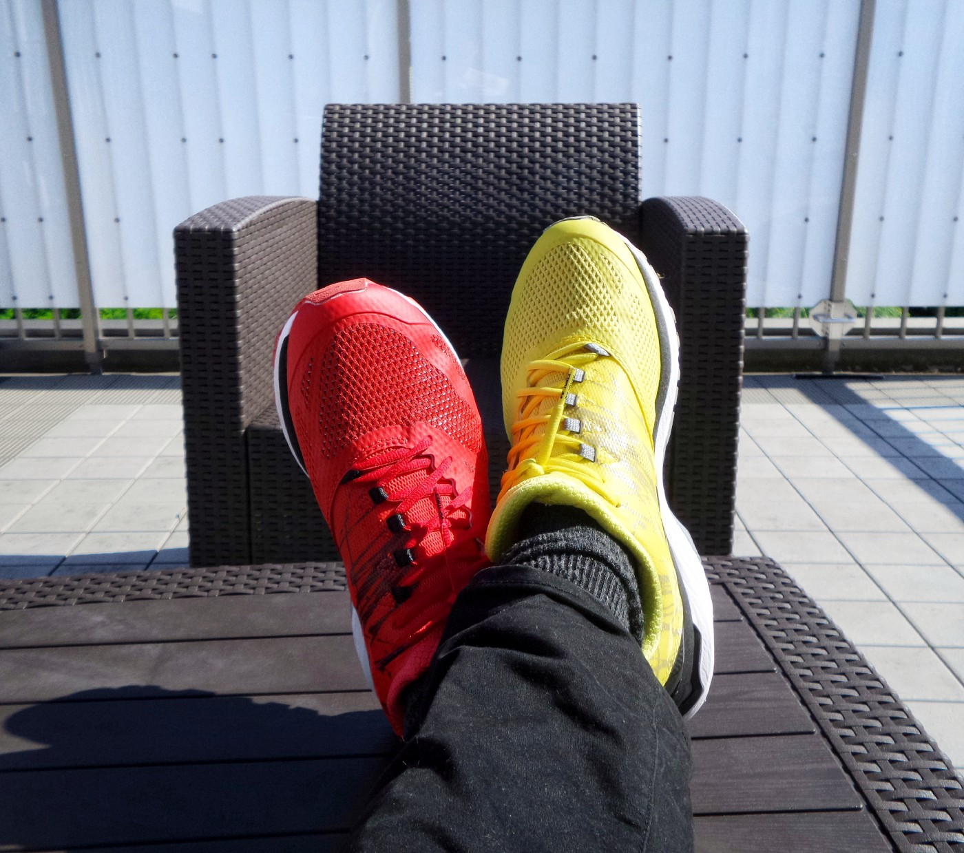 yellow and red sneakers