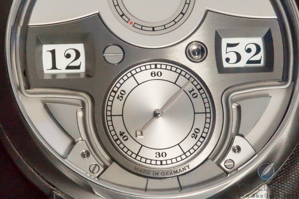 Close look at the dial side of the A. Lange & Söhne Zeitwerk Minute Repeater