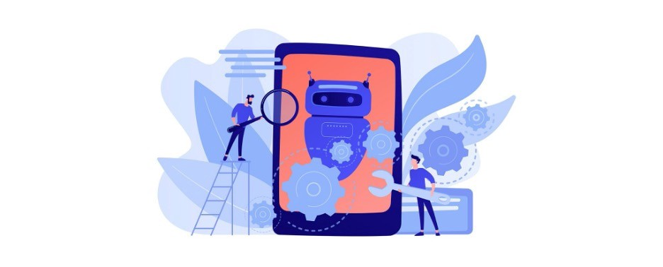 Vector drawing of a salmon colored phone or tablet with a blue robot surrounded by gears on it. Two men stand to either side and are using tools on the gears.