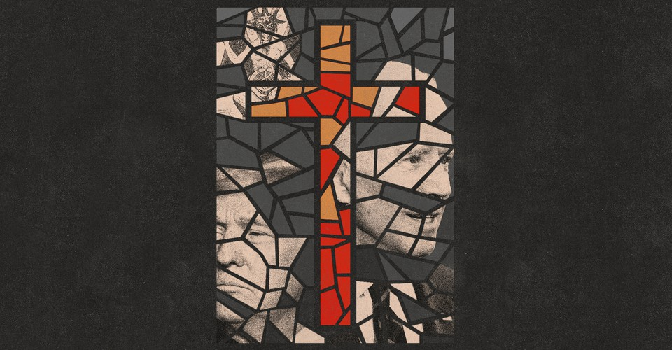 Stained glass window with an orange and red cross surrounded by Trump and Biden with pieces missing out of their faces.