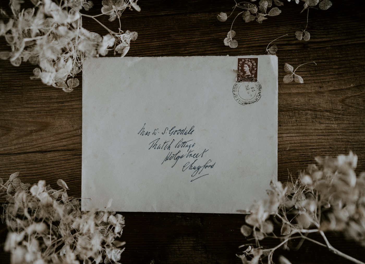envelope with handwritten address surrounded by dried flowers