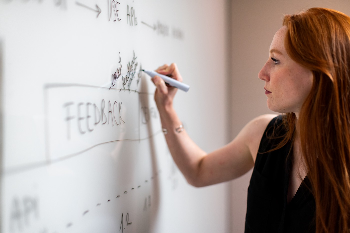 A woman writing on a white board.