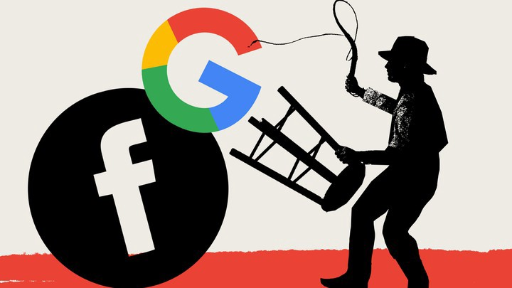 Silhouette of a cowboy holding a bar stool near the seat, brandishing a bullwhip at large Facebook and Google logos.