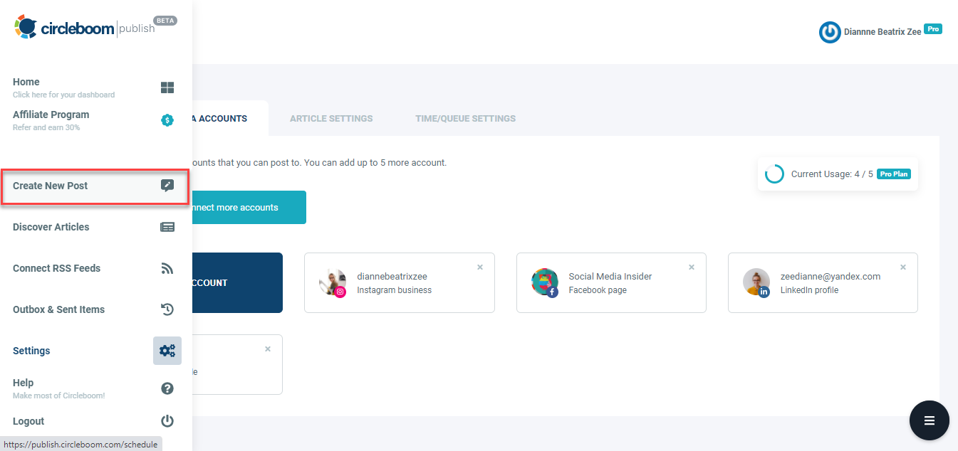 The post creation tab works for all social media platforms that are offered.