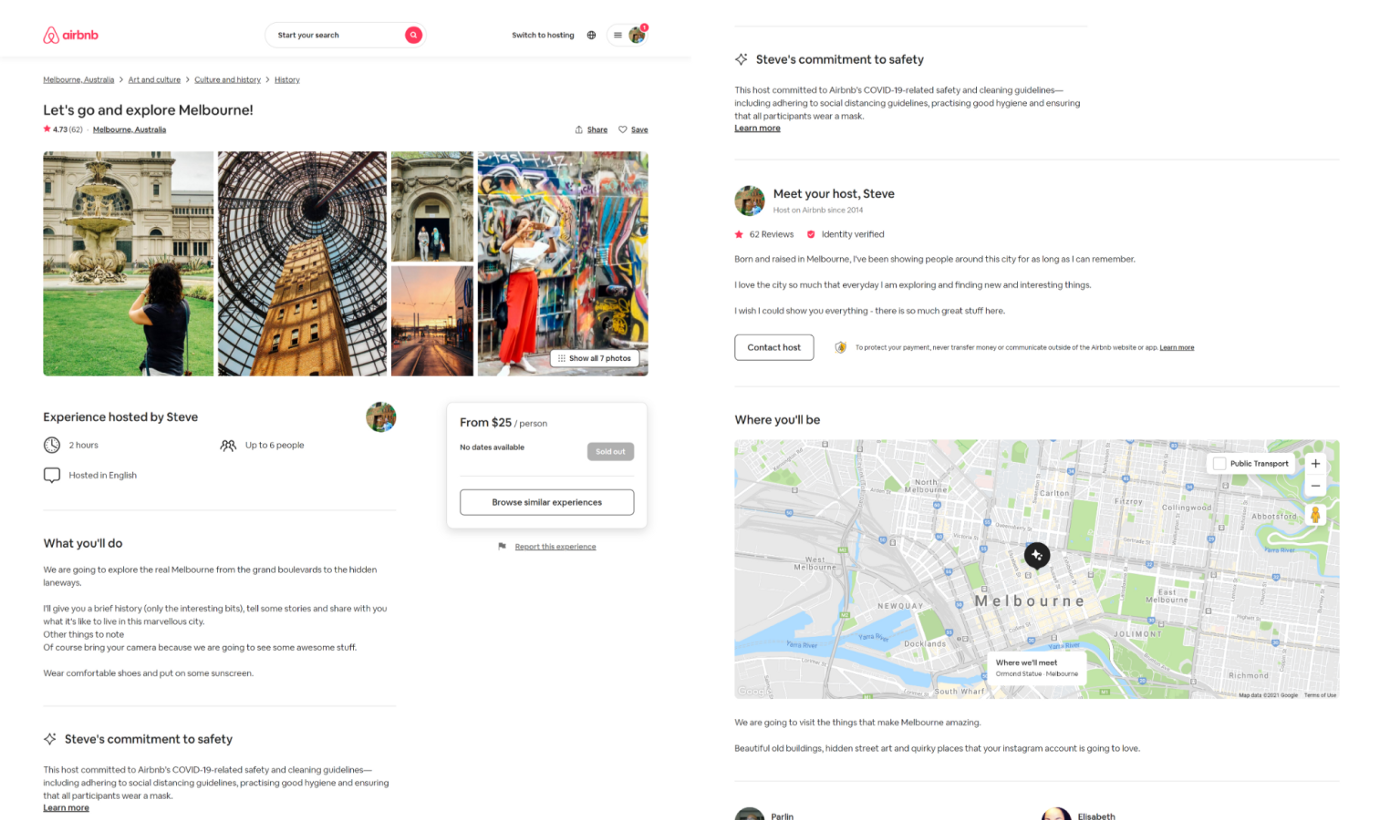 Screenshot of my Airbnb experience page