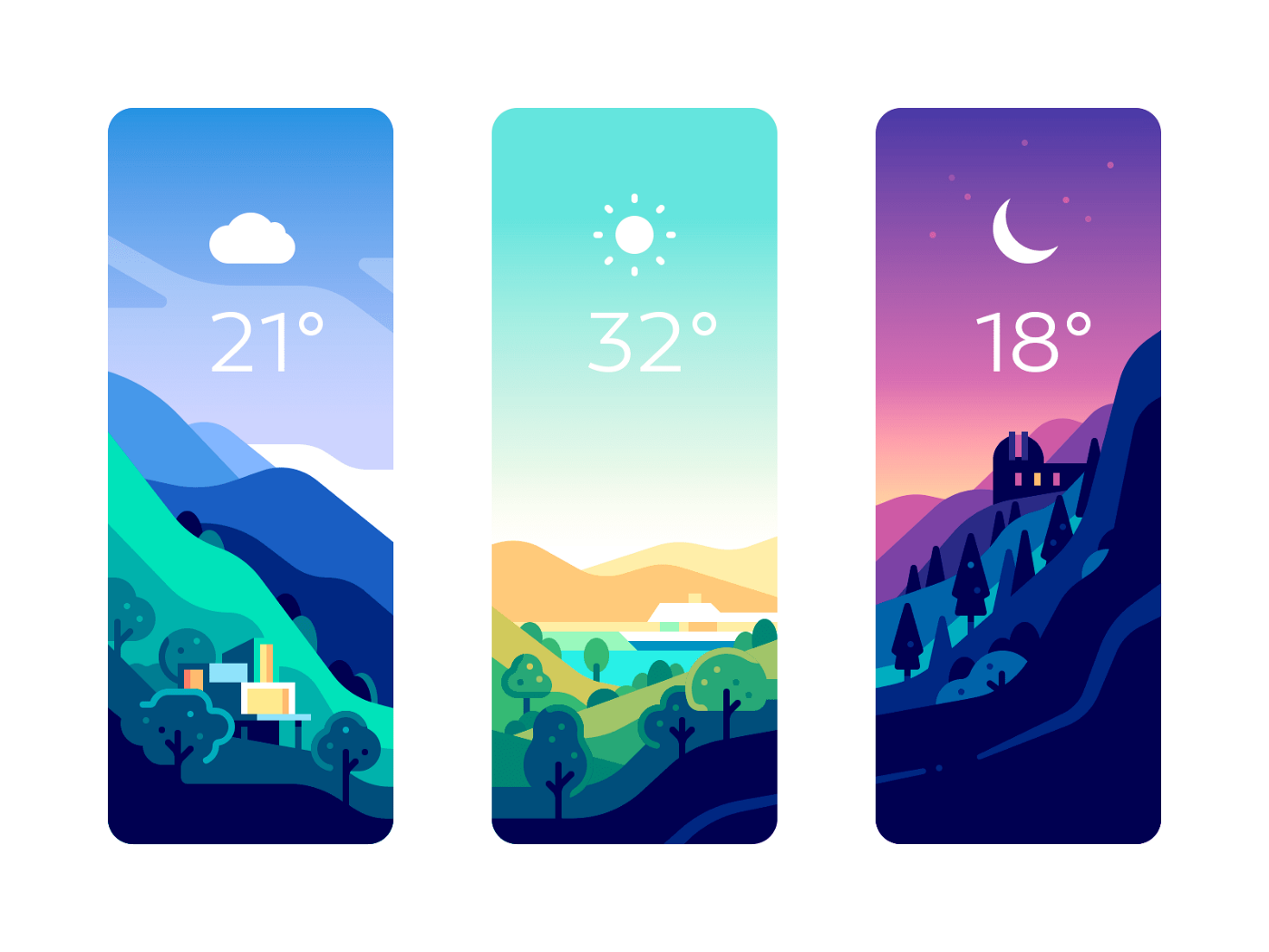 three color drawings of landscapes, each showing the current temperature and an icon for weather condition or time of day