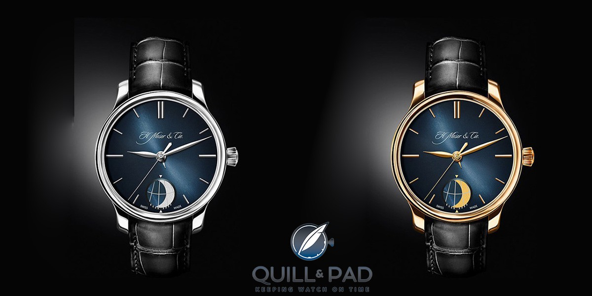 H. Moser & Cie Endeavour Moon in platinum (left) and red gold
