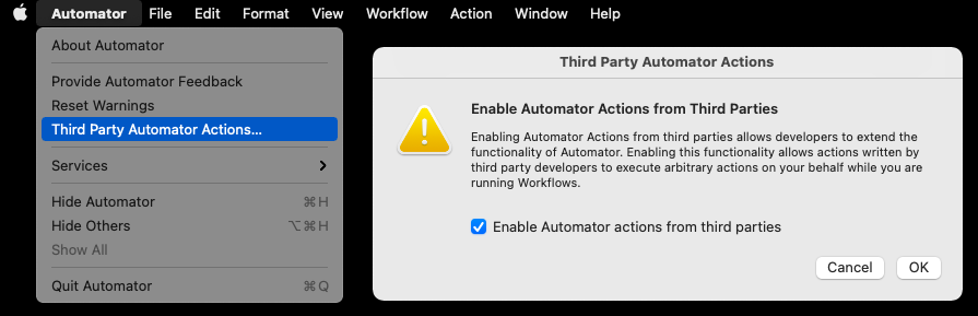 Third party automator actions dialog pop up.