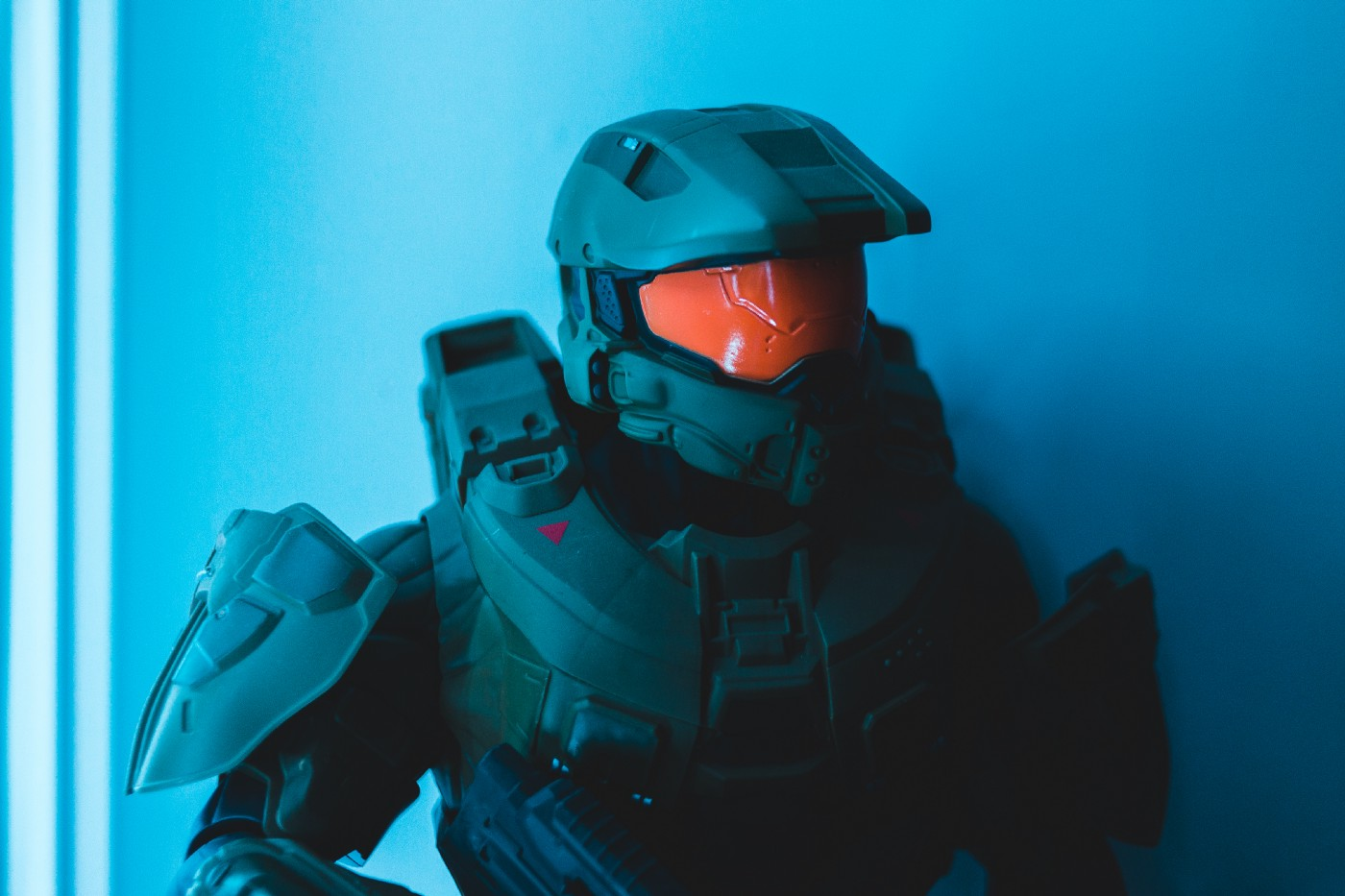 A photograph of a Masterchief figurine from the game Halo.