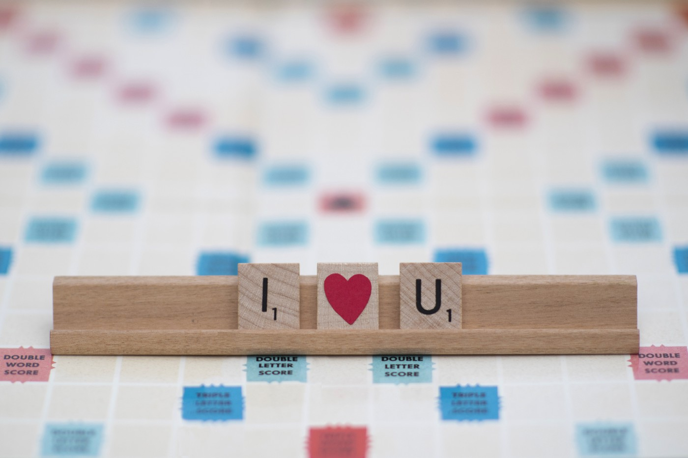 I love you written with scrabble letters