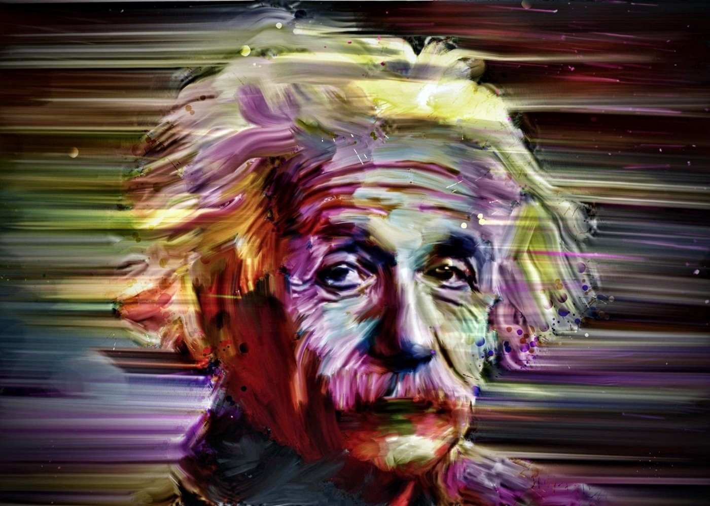Artistic colorful illustration of Albert Einstein.