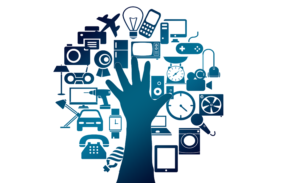 an icon of a human hand and images of common connected devices (Free for commercial use No attribution required)