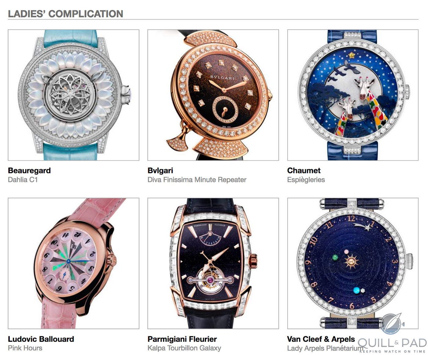 Ladies Complication category pre-selected watches in the 2018 GPHG, clockwise from top left: Beauregard Dahlia C1, Bulgari Diva Finissima Minute Repeater, Chaumet Espiègleries, Ludovic Ballouard Pink Hours, Parmigiani Fleurier Kalpa Tourbillon Galaxy, and Van Cleef & Arpels Lady Arpels Planétarium