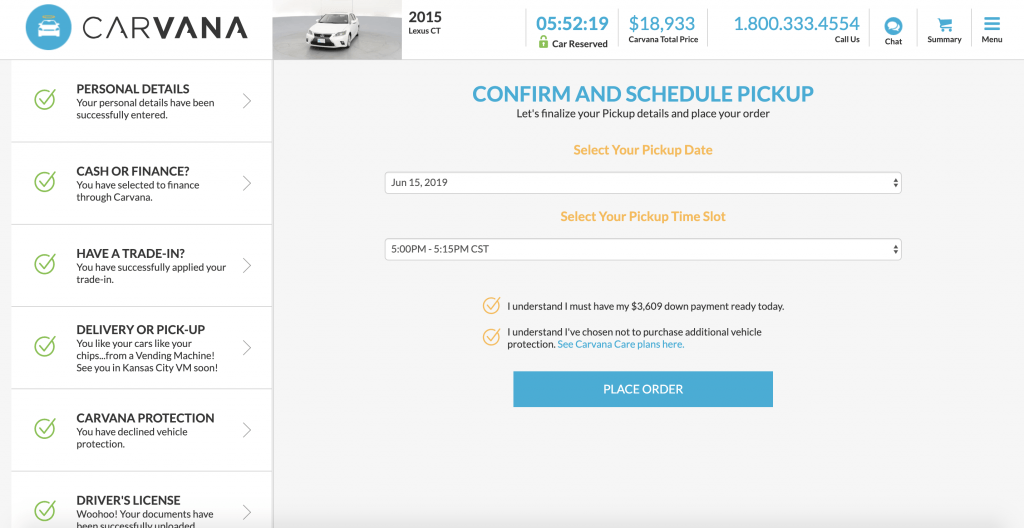 Carvana - Confirm and Schedule Pickup