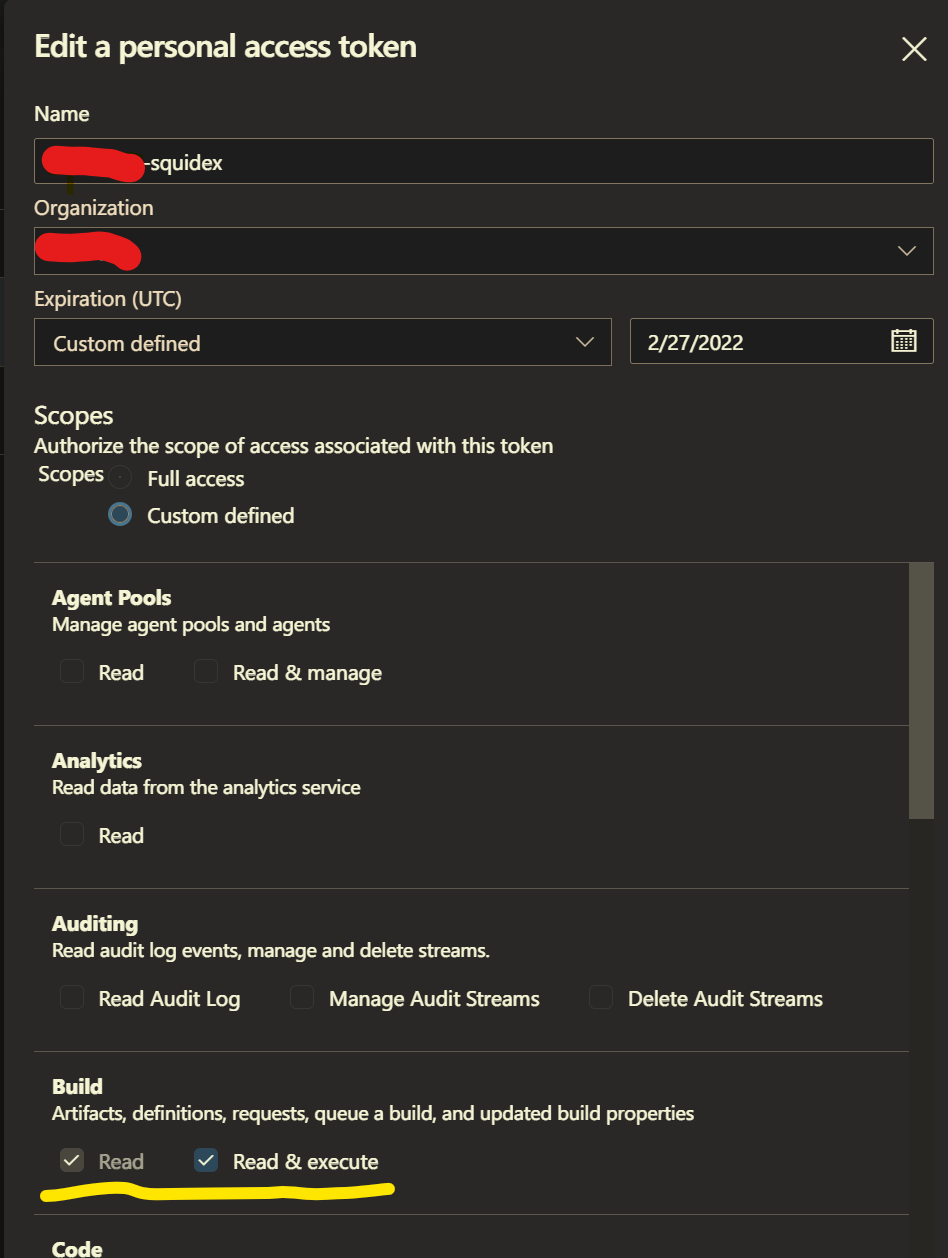a screenshot of the Azure DevOps interface for creating a personal access token, with read & execute build selected