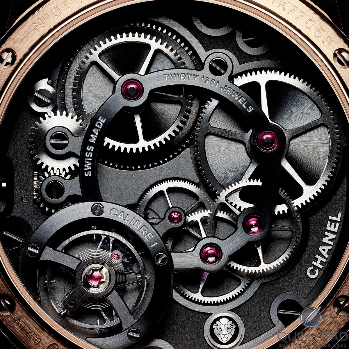 The very distinctive look of the beautifully finished movement of the Monsieur de Chanel