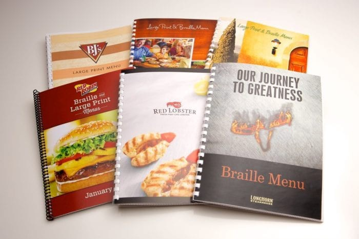 braille and large print menus from Braille Works