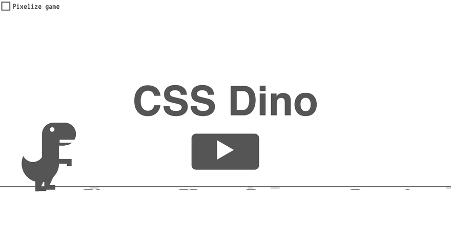 Screenshot of the game CSS Dino with rounded dinosaur and letters
