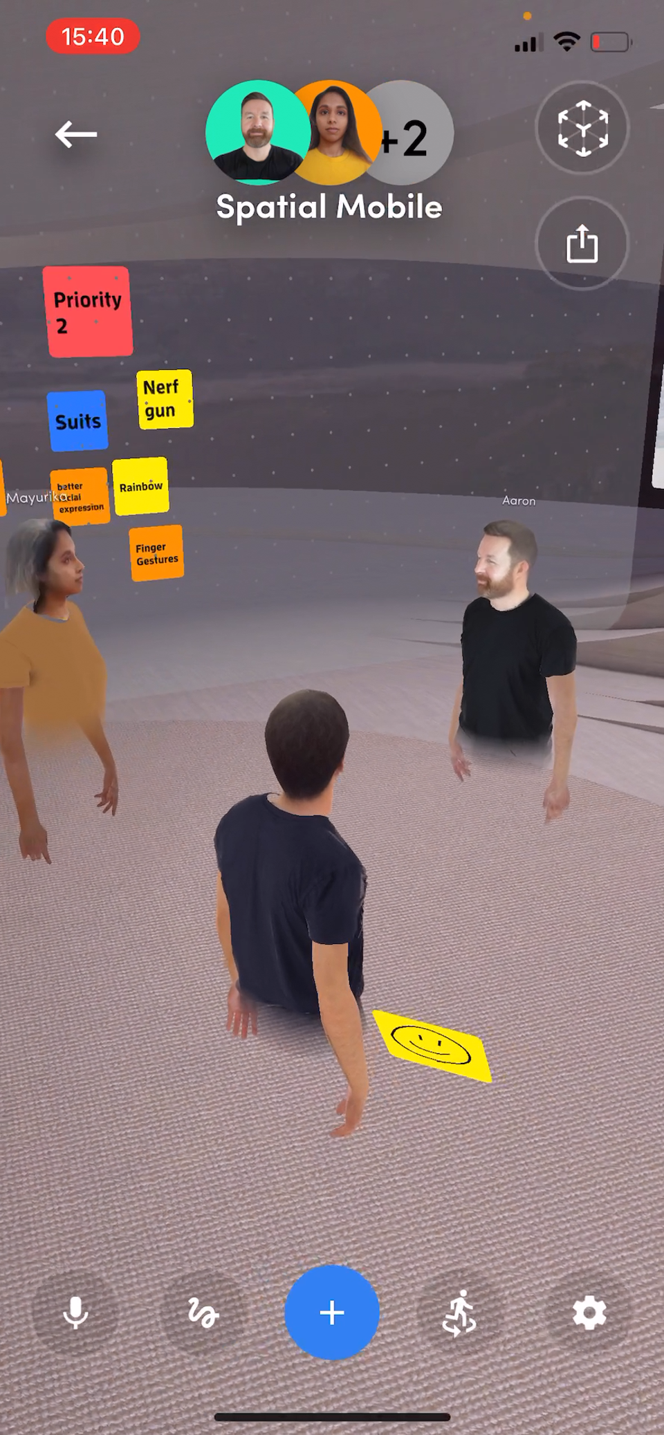 Smartphone users can move around the room as if virtually present in the meeting with other avatars. SPATIAL