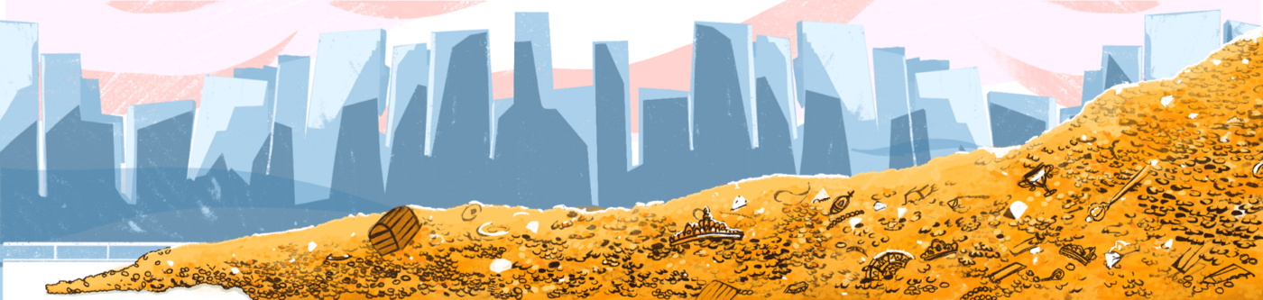 The illustration depicts loads of gold against the background of skyscrapers