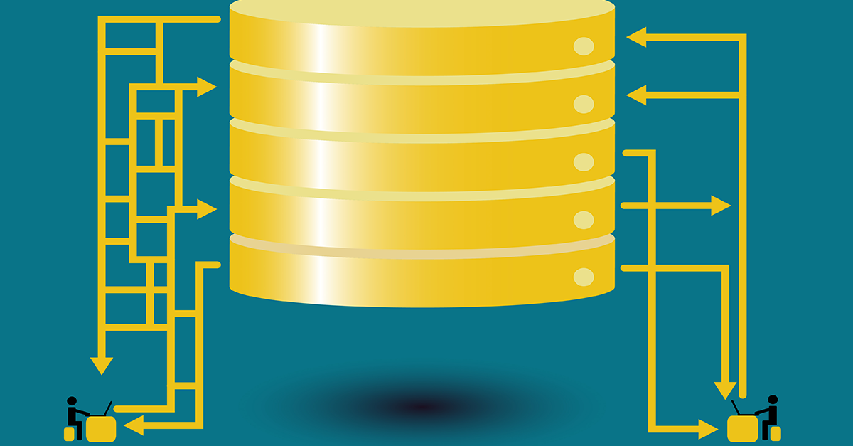 graphic of a database and its connections to users