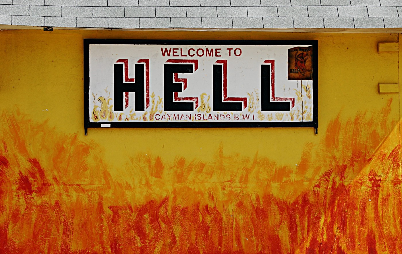 """Funny, there are many cities called """"Hell"""" on earth. This one was in Grand Cayman."""