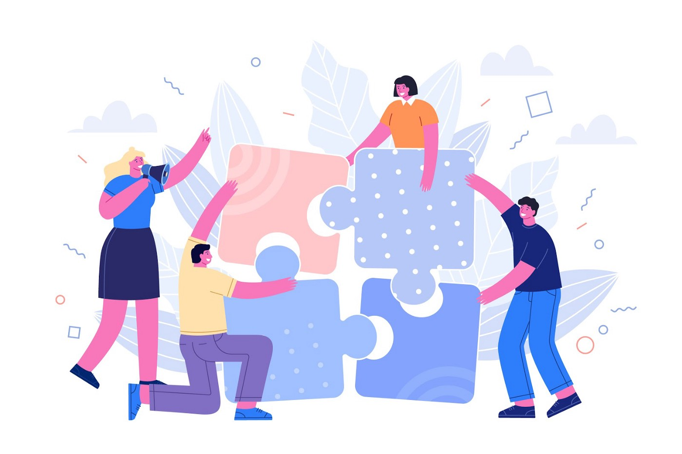 Illustration of folks assembling a jigsaw puzzzle.