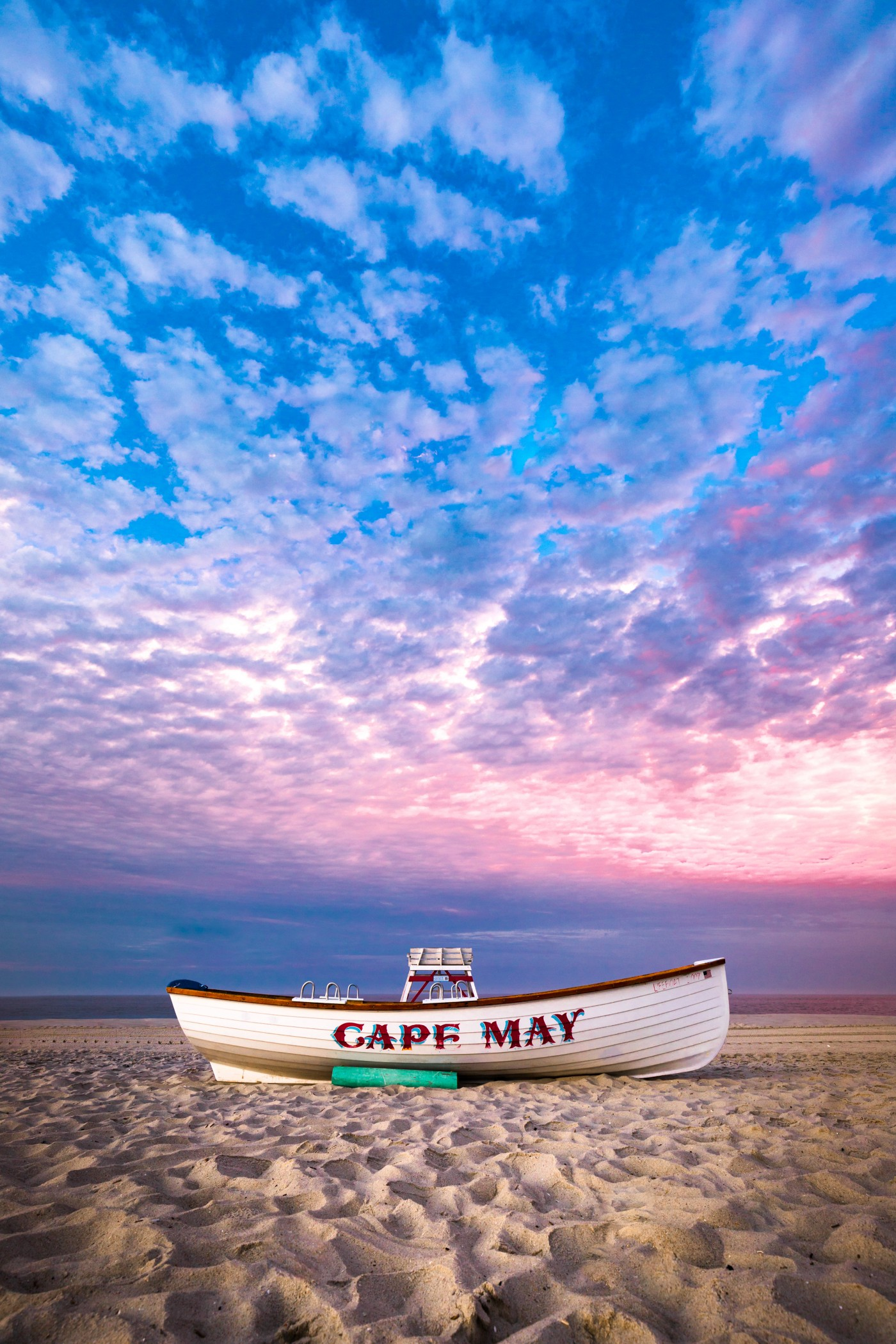 Photo of boat with cape may spelled on boat at New Jersey Beach. Photo on Dr. James Goydos 2021 article about melanoma in New Jersey.