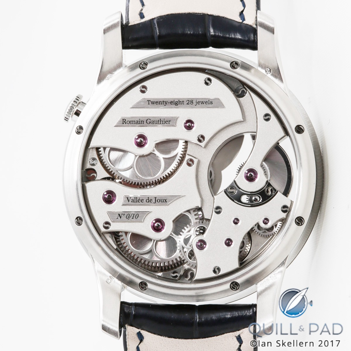 Back of the Romain Gauthier Insight Micro-Rotor in platinum