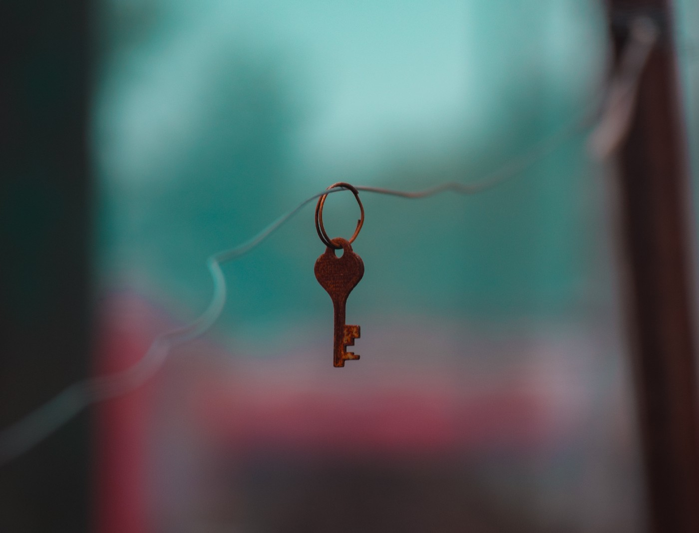 Photograph of a single key on a key chain loop, suspended from a thin, twisted wire passing horizontally through the loop.
