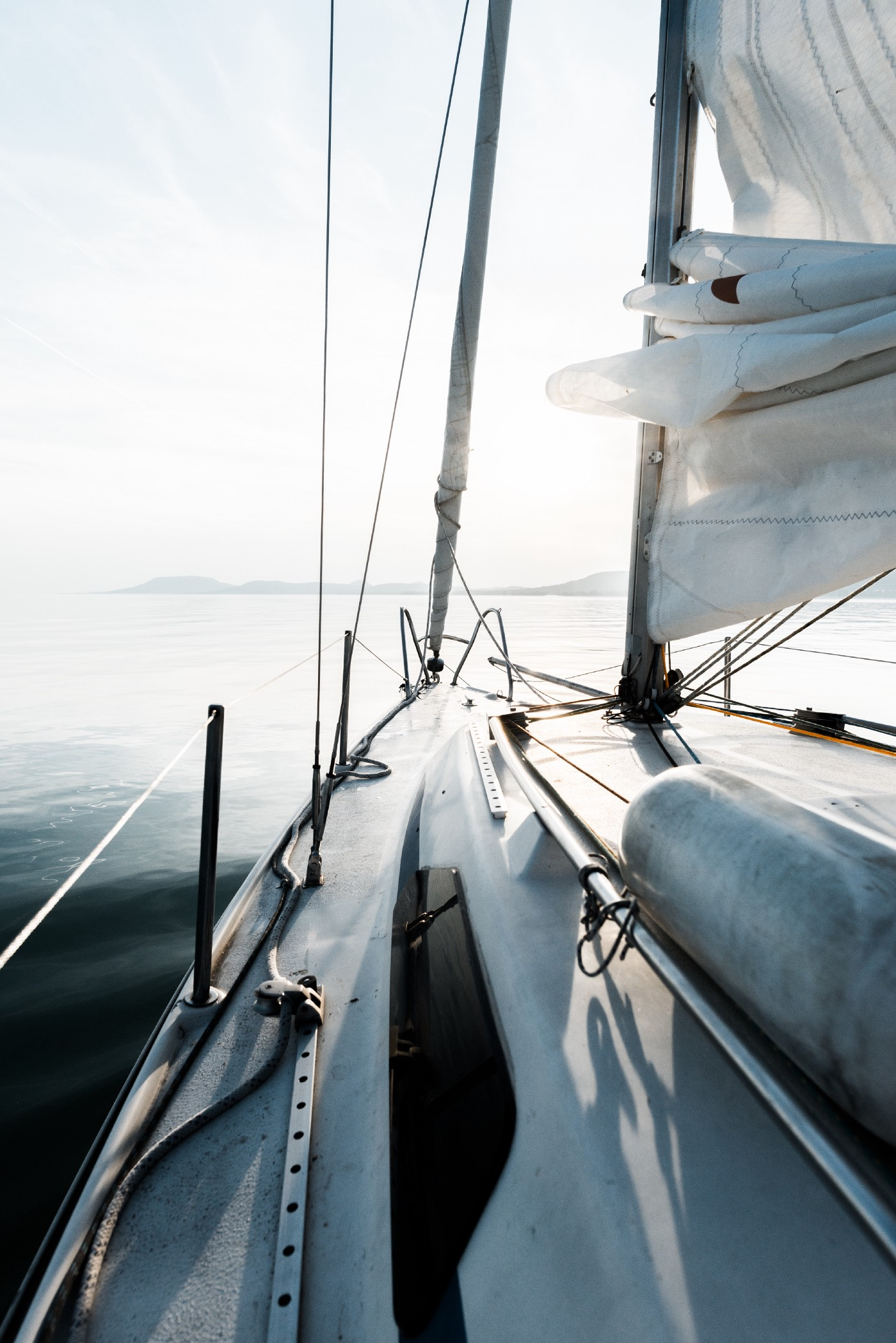 Looking out into the water from a sail boat.