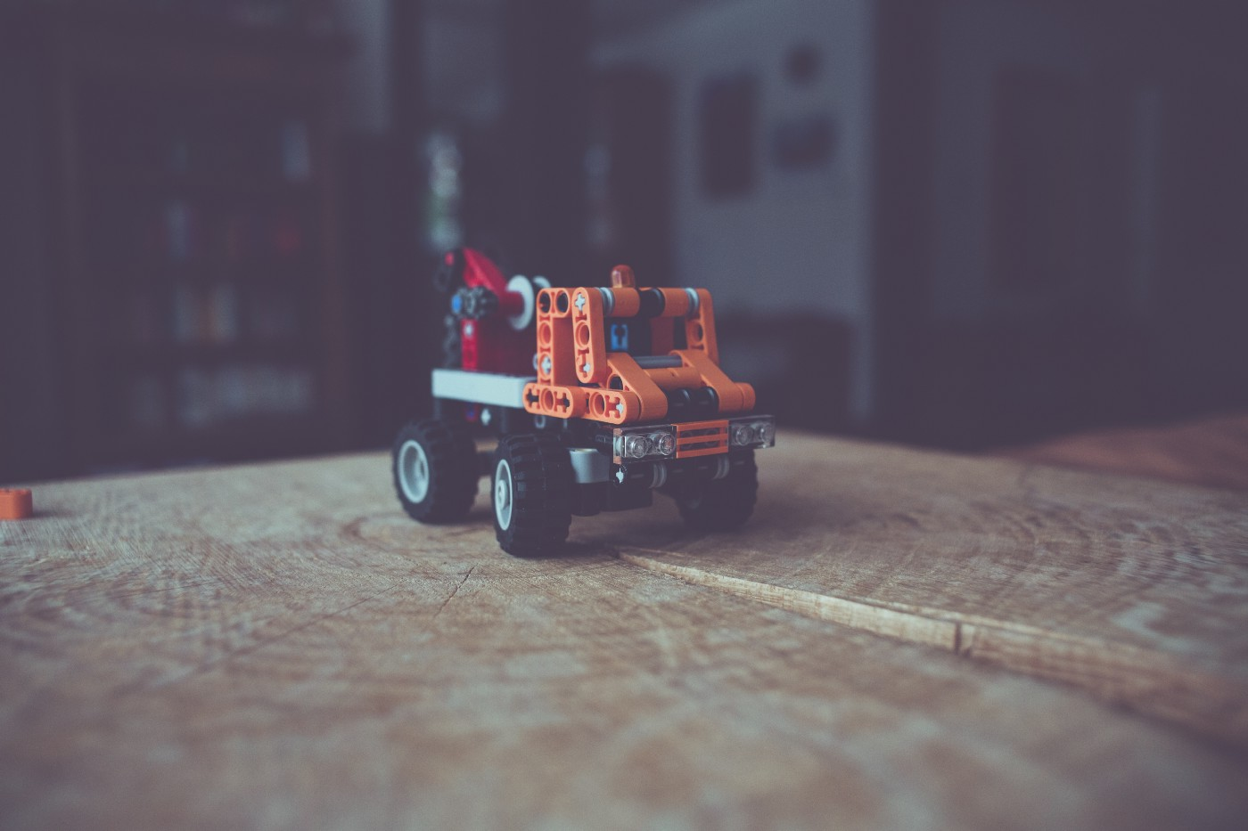 toy truck on a tabletop