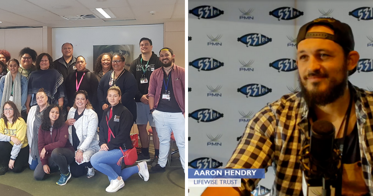 Two images, one a group shot of the members of Manaaki Rangatahi, the second of Aaron with the title Aaron Hendry, Lifewise Trust