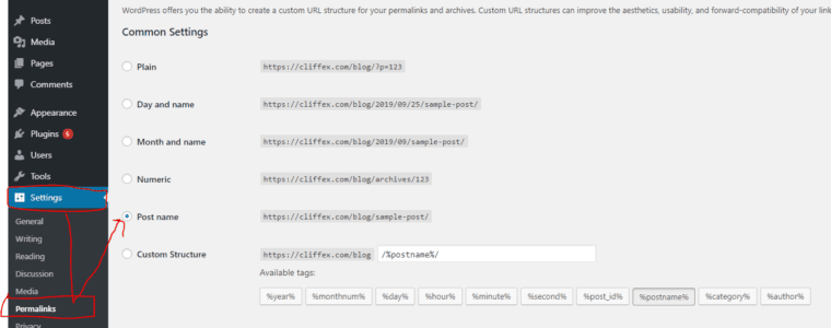 where to configure the structure of permanent links in WordPress.