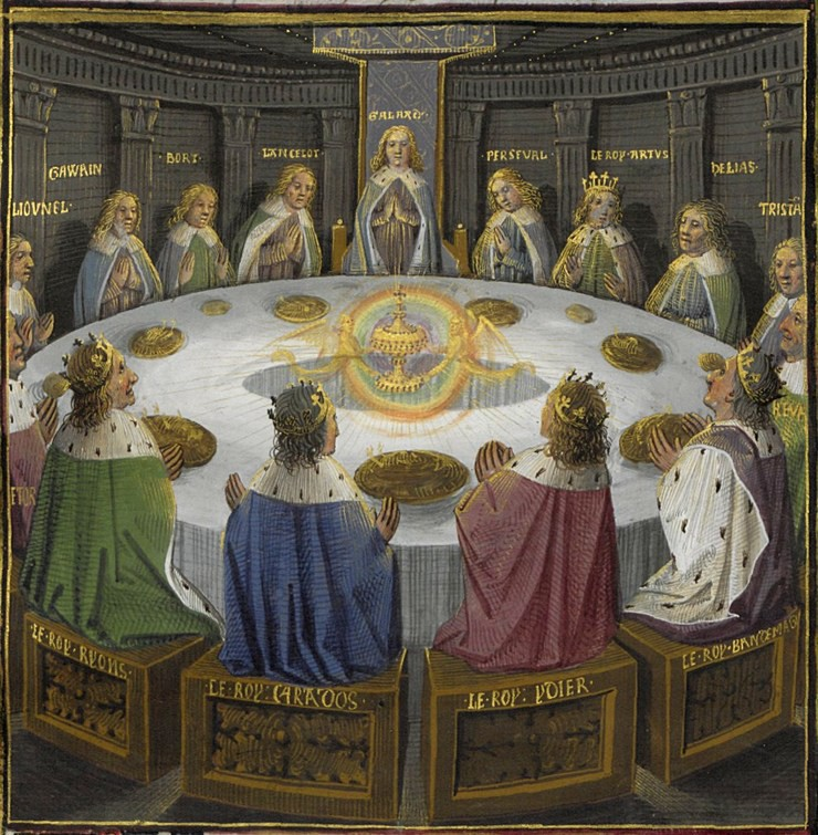 Holy grail round table bnf ms fr 116f f610v 15th detail