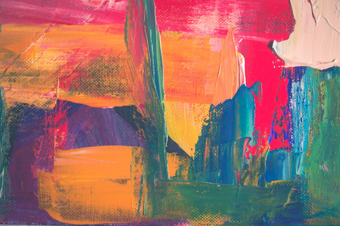 Abstract art painting using green, orange, yellow, blue, red, purple, and coral.