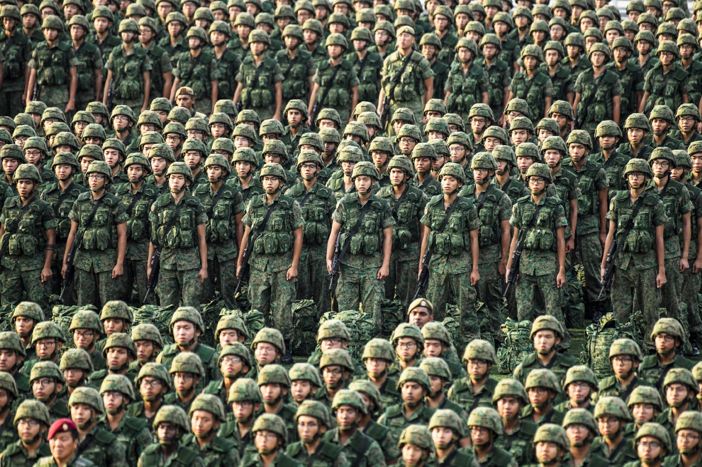A sea of green; soldiers in a parade