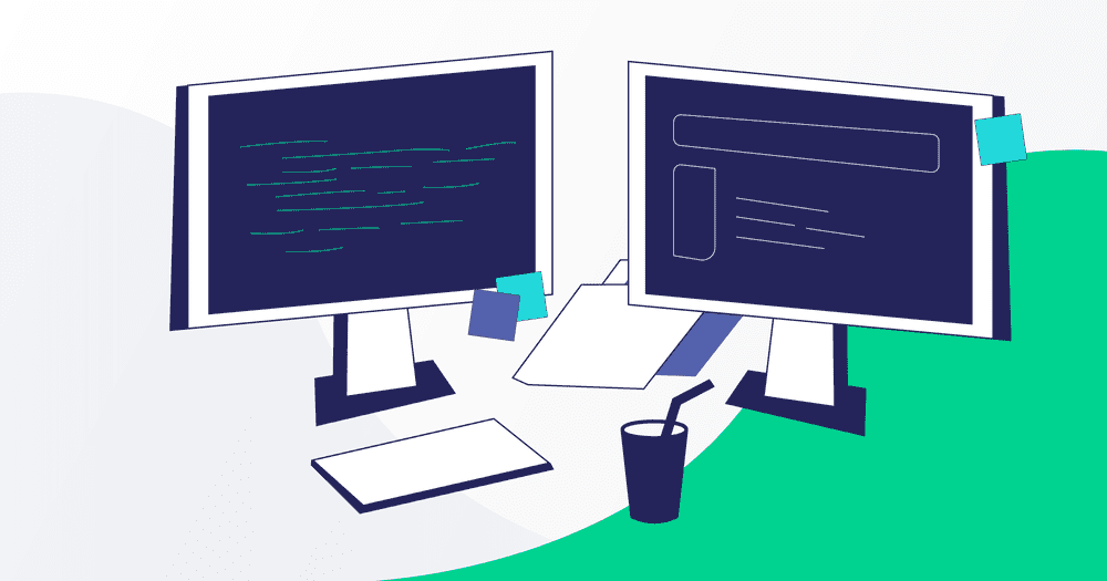 Illustration showing two computer monitors in a development environment.
