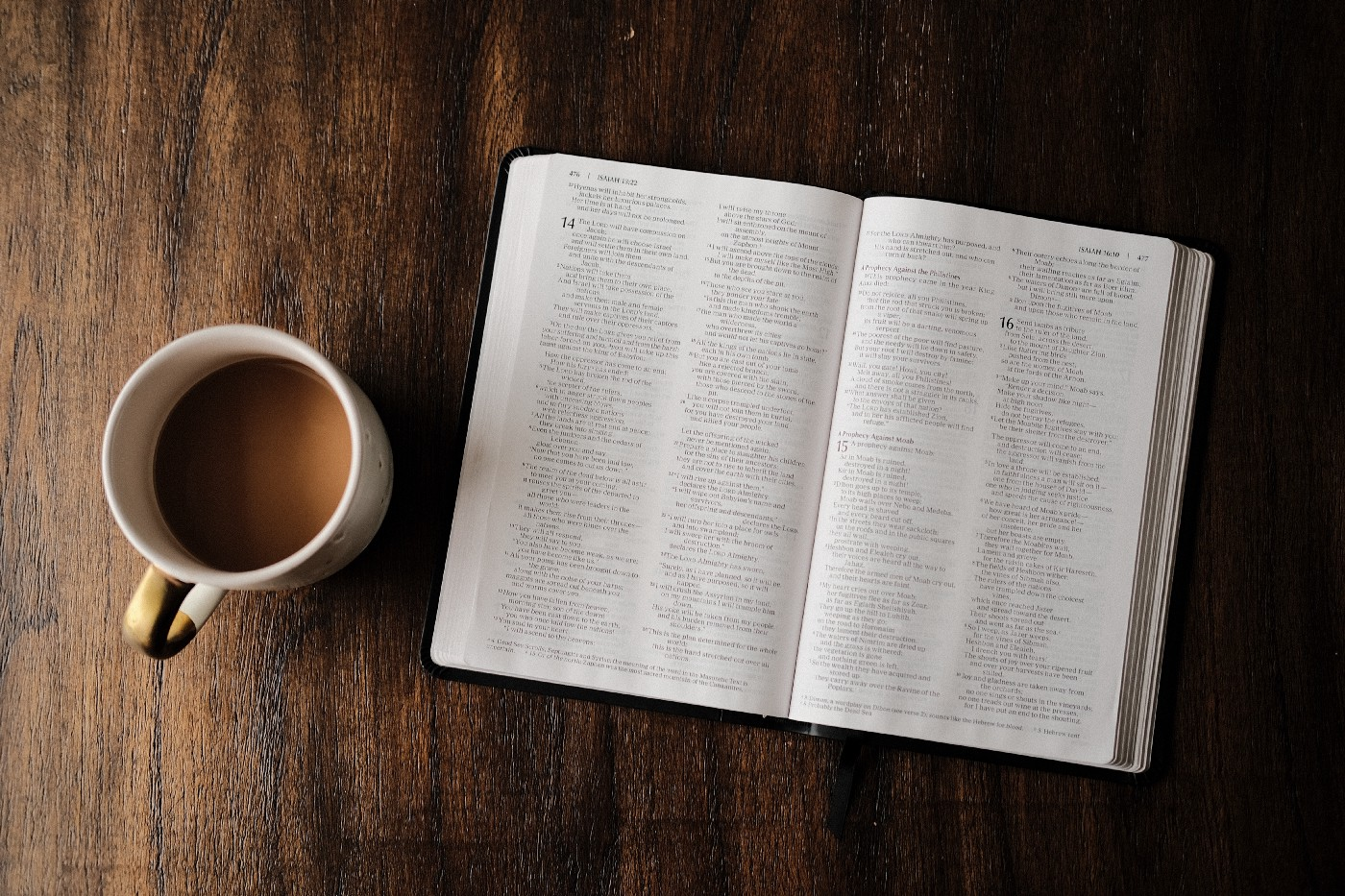 Looking down on open Bible and cup of coffee.