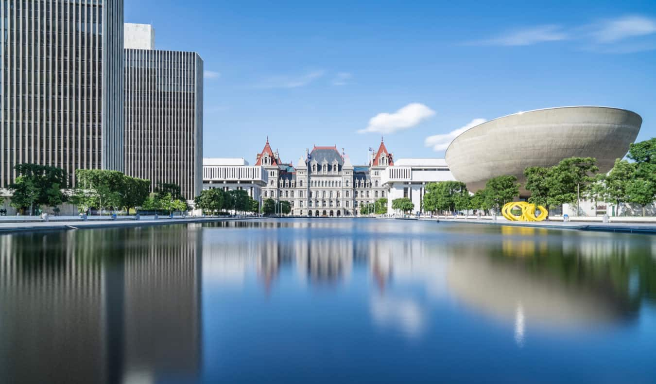 The view of Albany, NY as seen from the water