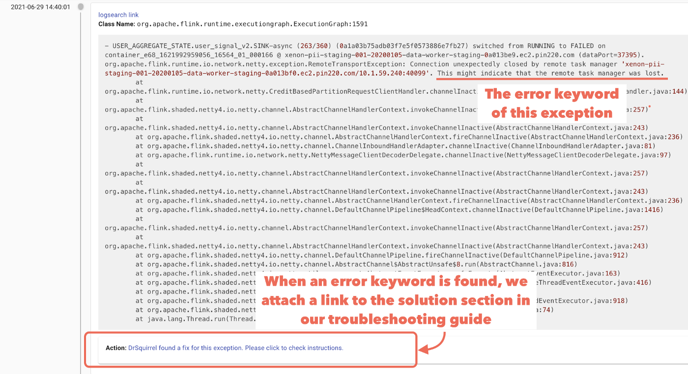 Dr.Squirrel suggests a solution to an issue when an error keyword is identified in the log.