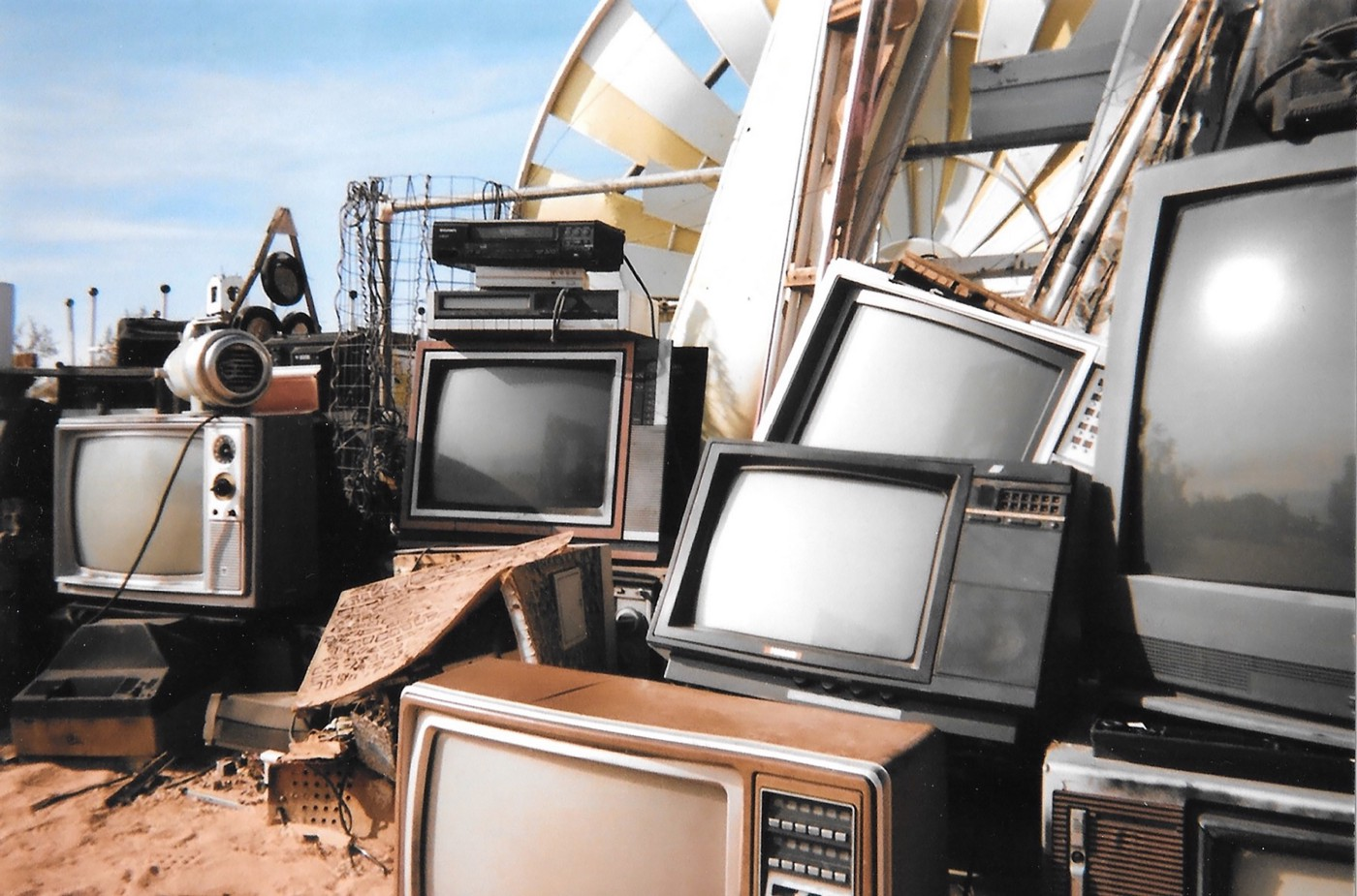 Pile of old televisions.