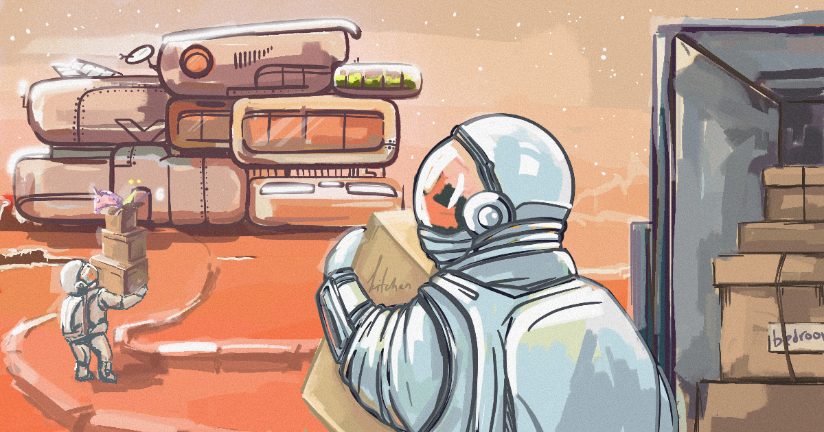 This illustration depicts an astronaut getting ready to a flight